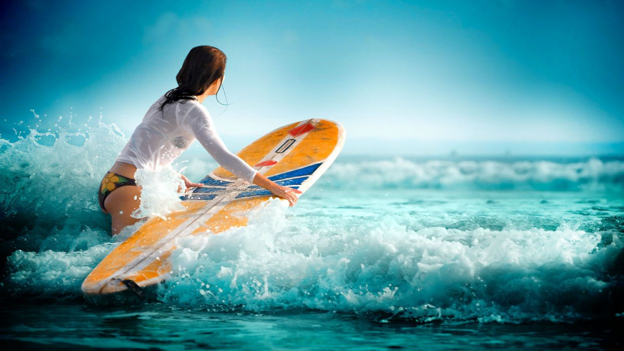 surfing waves water sea girl wallpaper