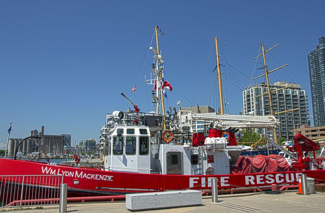 Toronto Canada fire boat pier masts wallpaper