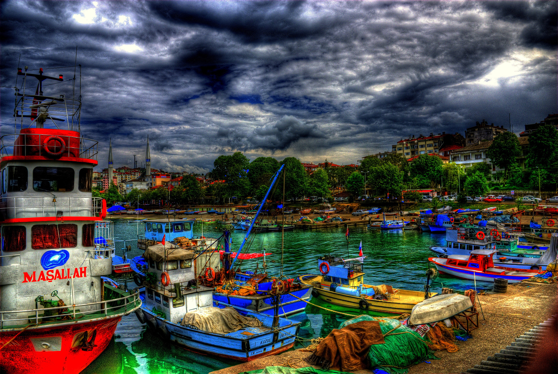 turkey city boats hdr wallpaper 1920x1286 117564