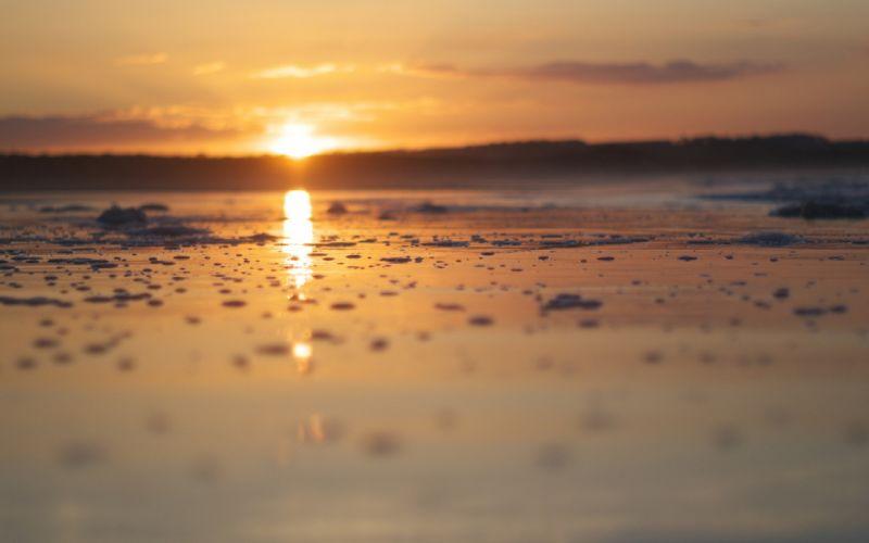Beach Sunset reflection bokeh wallpaper