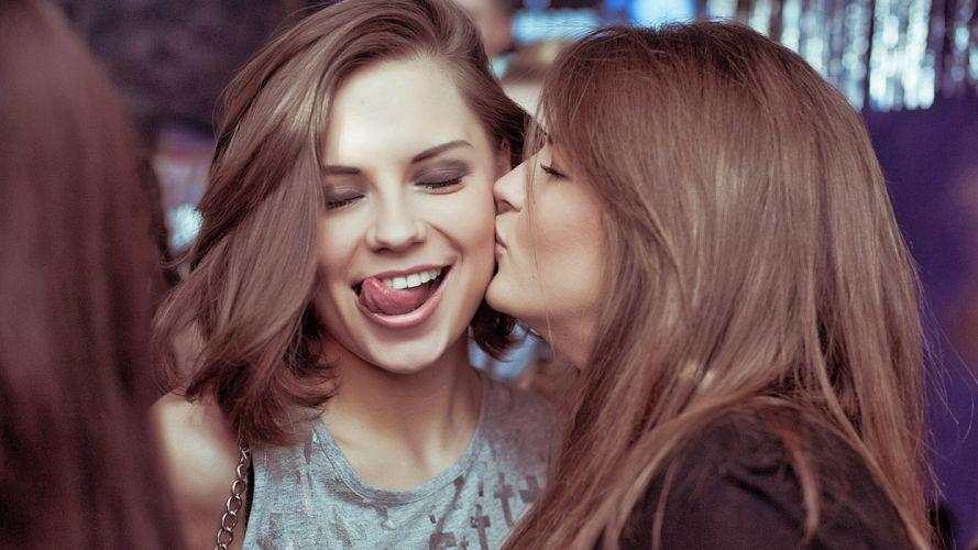 Brunette Face Kiss mood wallpaper