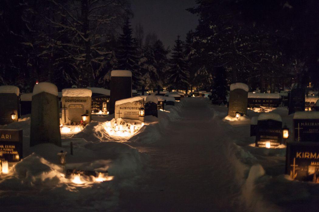 Cemetery Tombstones Night Lights Snow Winter bokeh mood dark wallpaper