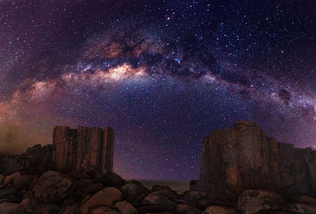 Galaxy Milky Way Stars Desert Night Rocks Stones wallpaper