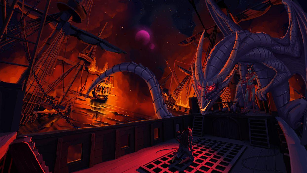 Homestuck Dragon Ships Fire fantasy dark wallpaper