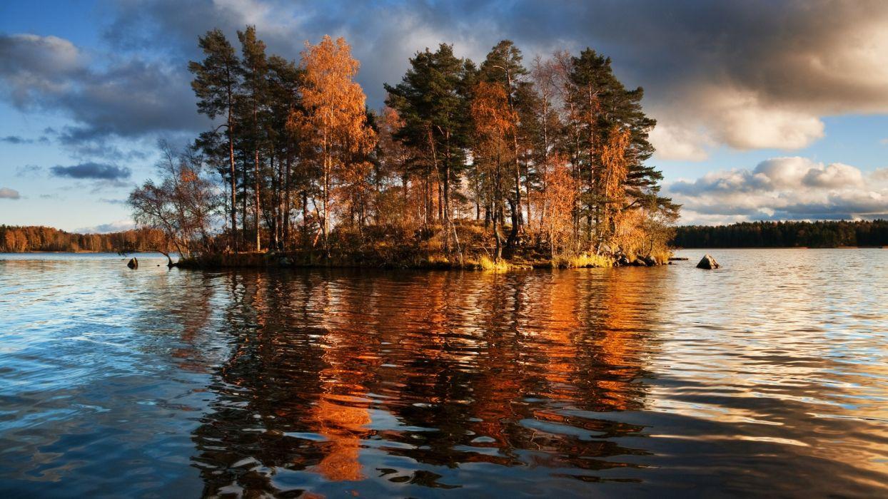 lake trees autumn fall reflection wallpaper