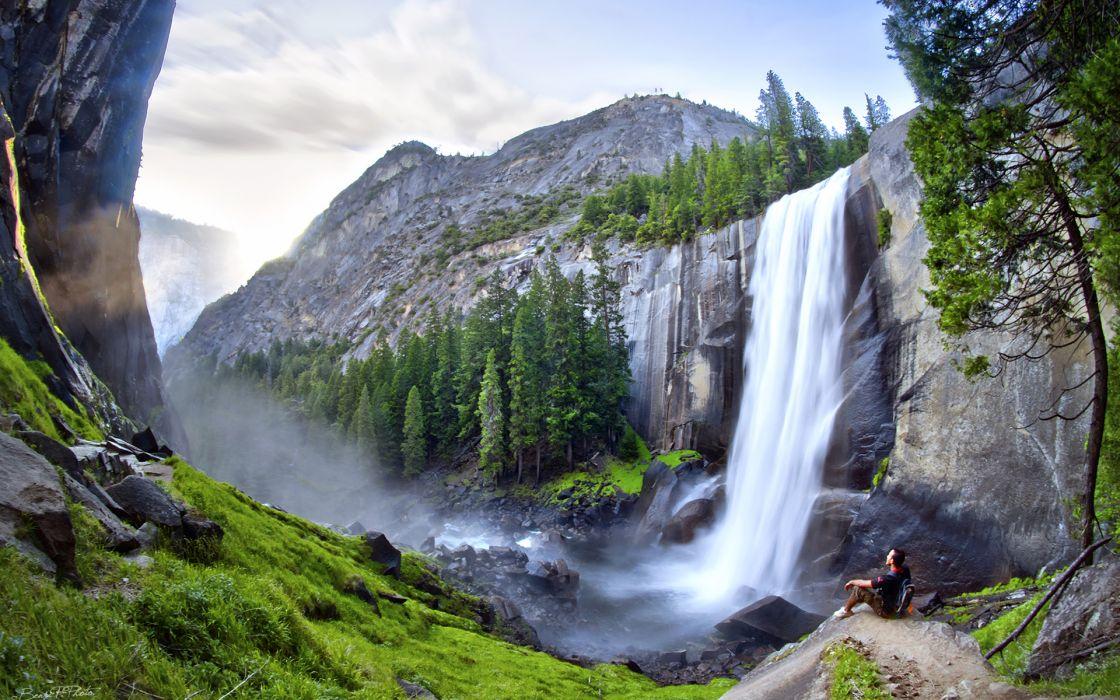 Waterfall Trees Rocks Stones mood wallpaper