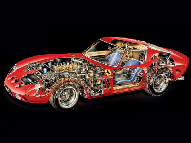1962 Ferrari 250 GTO Series-I supercar supercars classic interior engine engines wheel wheels wallpaper