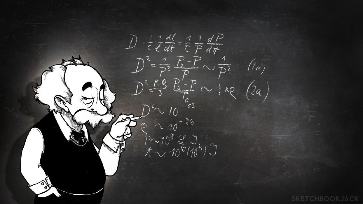 Albert Einstein Physics Chalk Board Math wallpaper