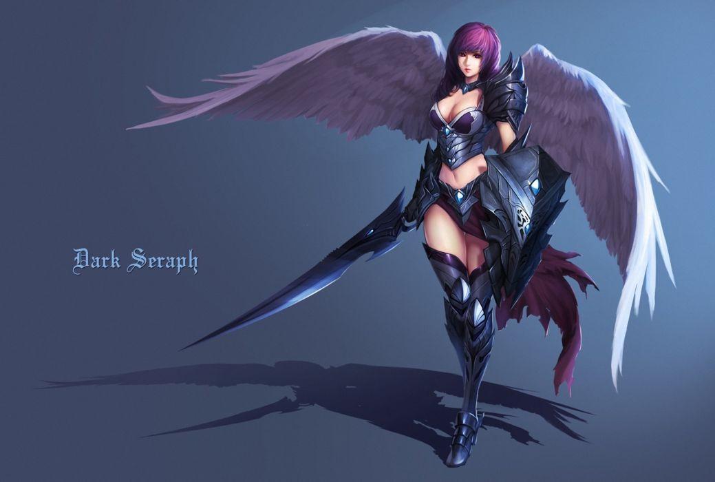 Angels Dark Seraph Wings Swords Armor Shield Fantasy Girls wallpaper