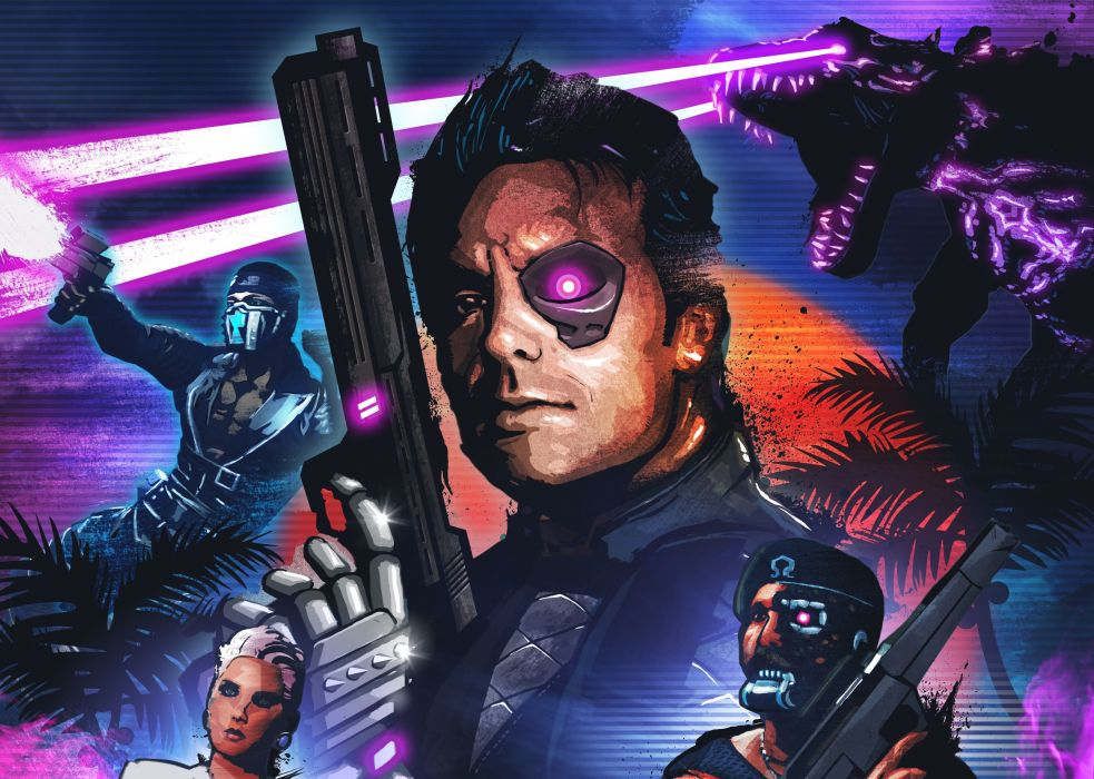 Far Cry 3 Blood Dragon DLC addition Omega Force cyborgs Sergeant Rex Colt Rex Colt dragon weapons blaster palm sun girl Ubisoft Entertainment cyborg sci-fi wallpaper