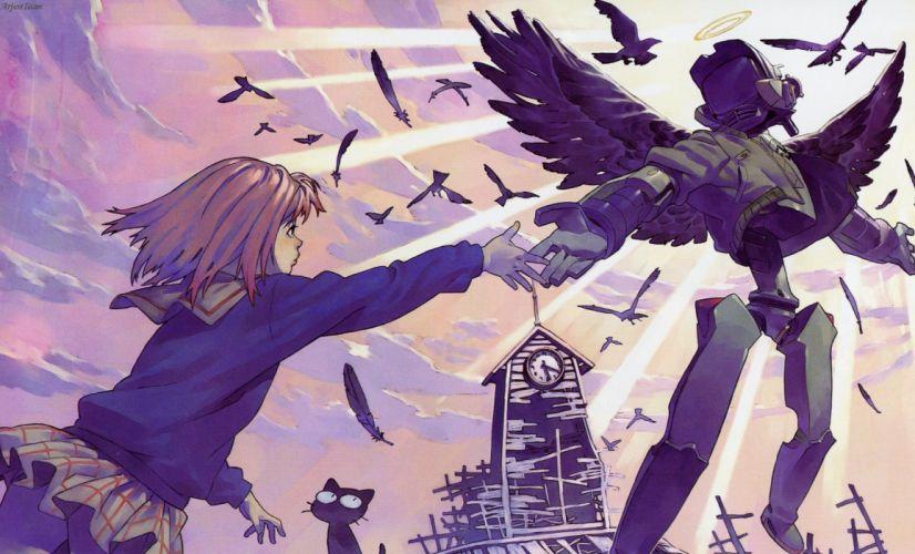 FLCL Anime Wings Purple mecha wallpaper