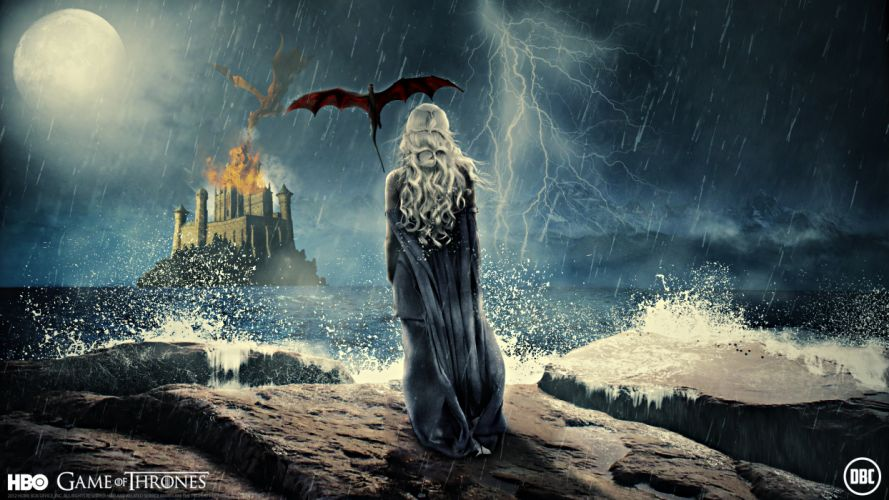 Game of Thrones Dragons Waves Lightning Moon Night Movies Girls wallpaper