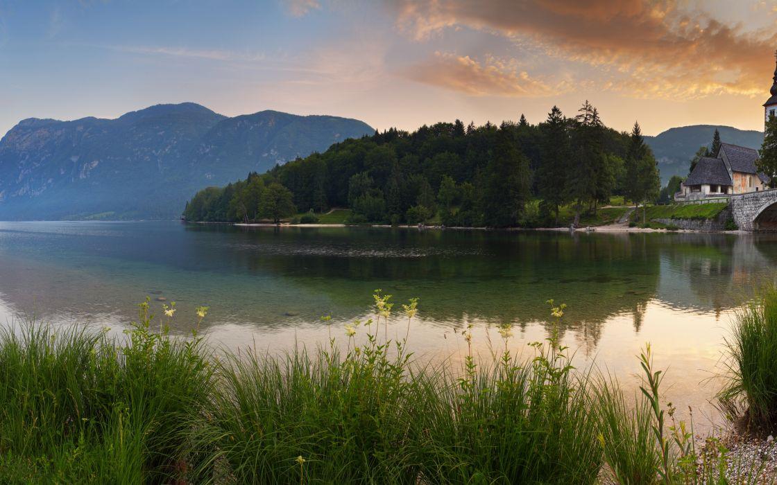 lake forest mountains dawn house grass wallpaper