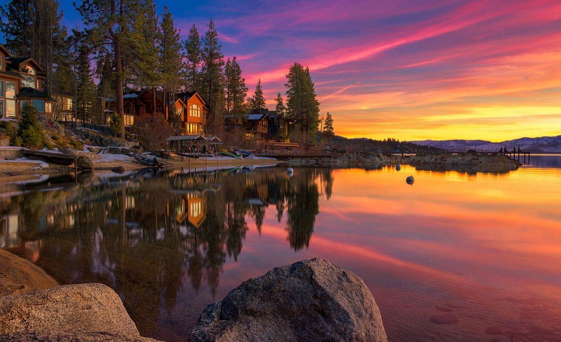 landscape lake house rocks sunset sky clouds Lake Tahoe United States wallpaper