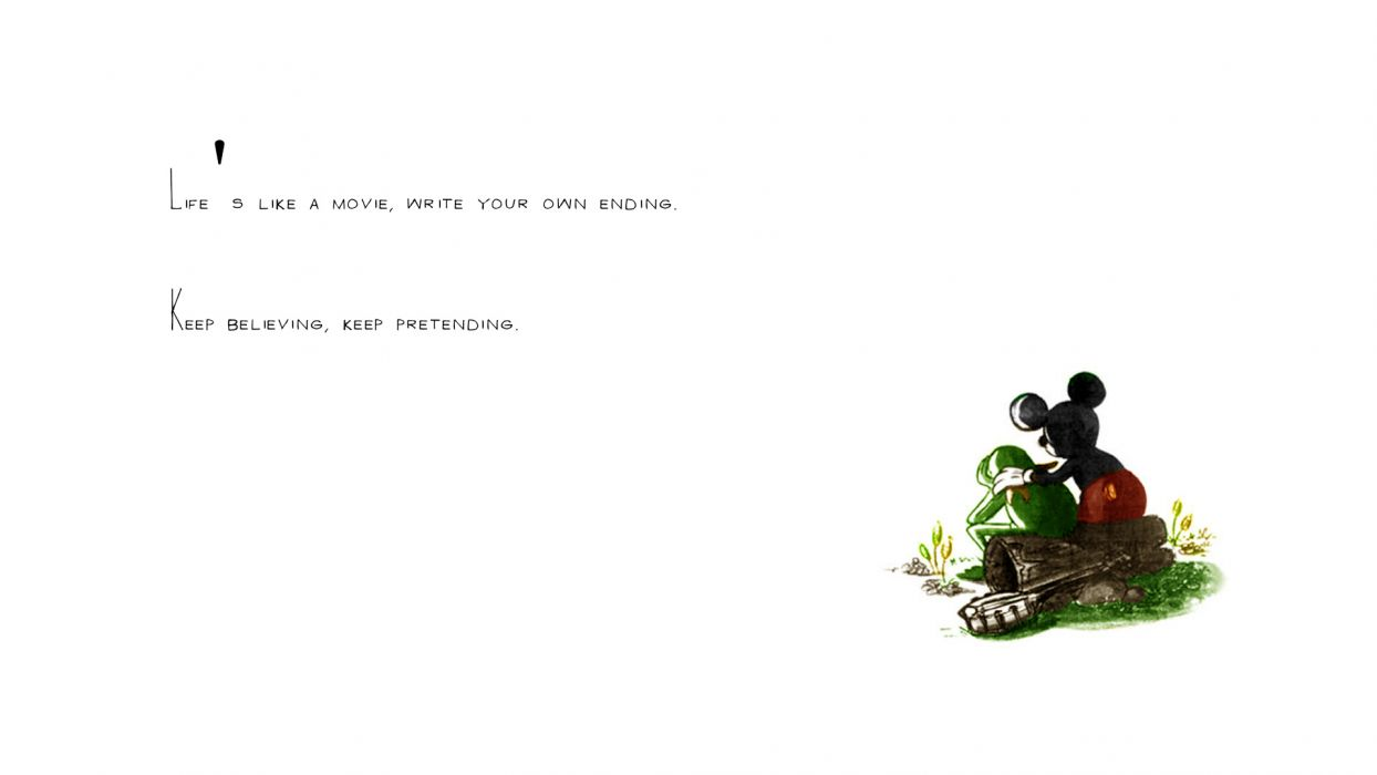 Life White Mickey Mouse Kermit the Frog Embrace wallpaper