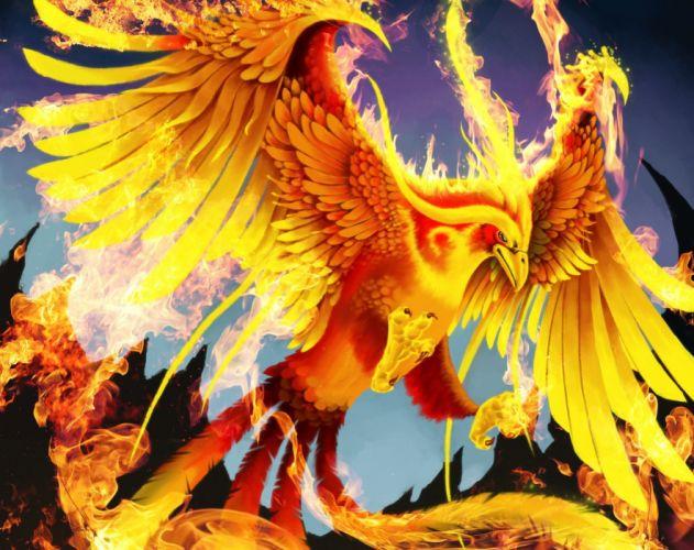 Magical animals Birds Fire phoenix Fantasy wallpaper