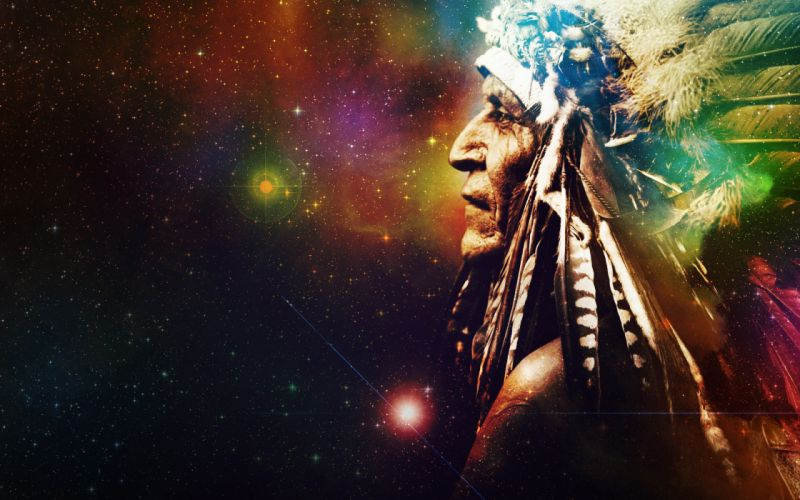 space stars universe background Indian feathers native american nebula wallpaper