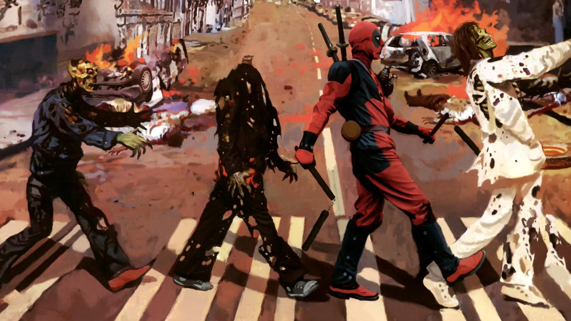 The Beatles Abbey Road Zombie Deadpool Marvel Dark Wallpaper