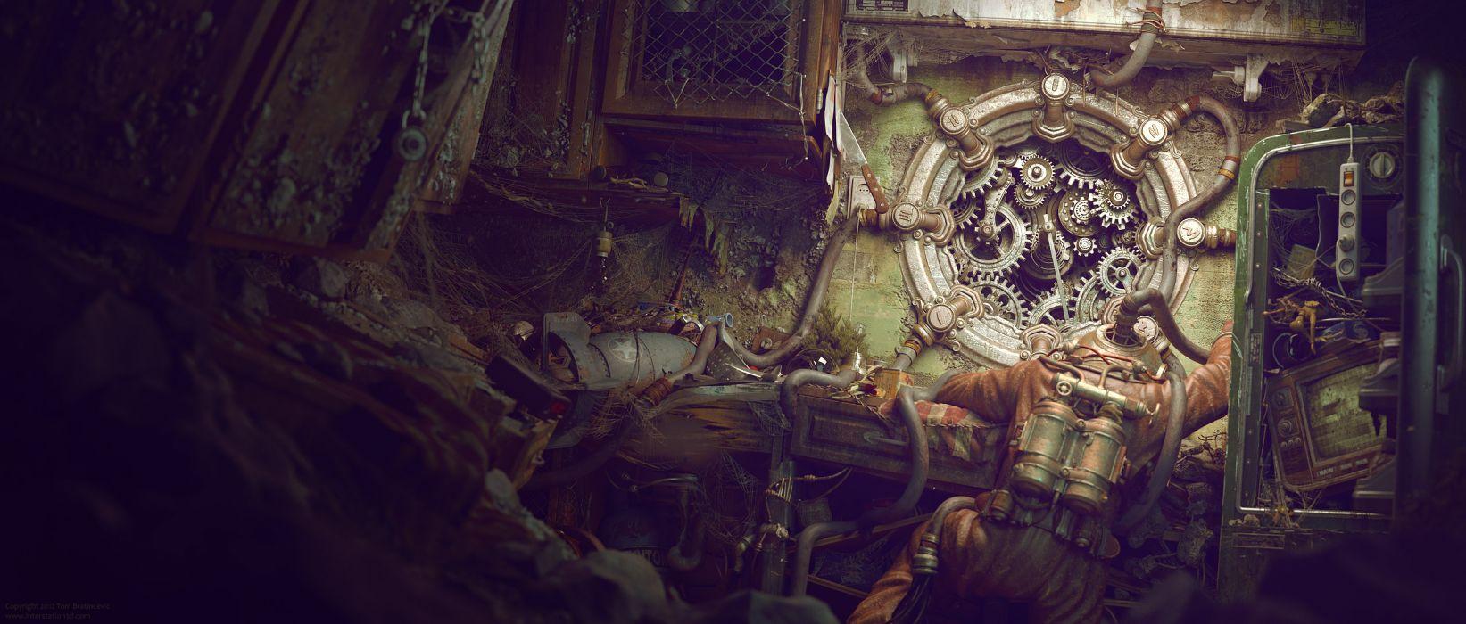 sci-fi steampunk dark horror diving diver fantasy wallpaper