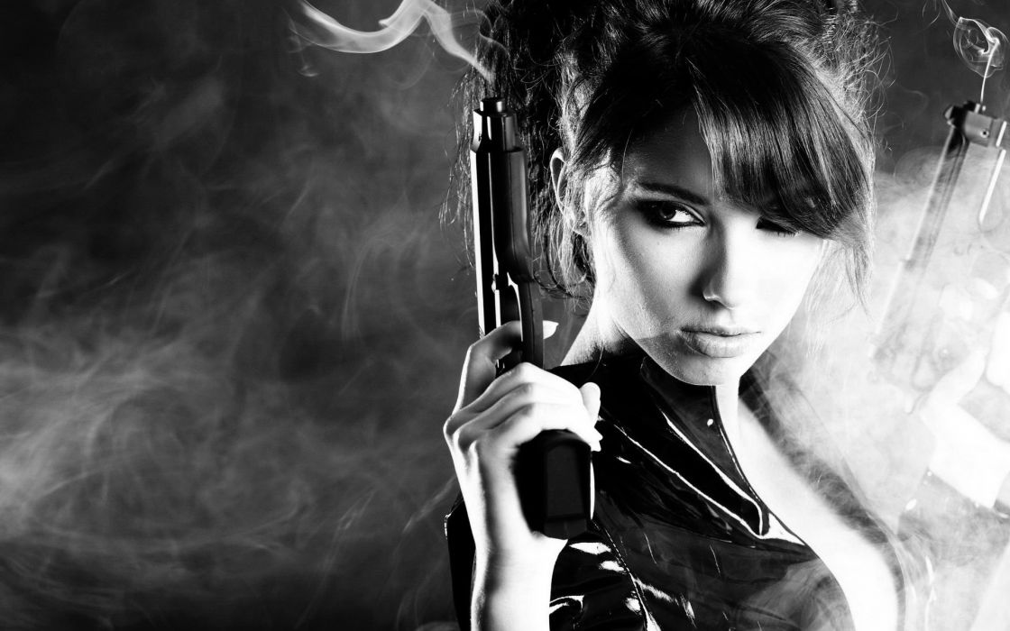 women sexy weapons weapon gun brunette military guns gun girl girls pistol smoke b-w wallpaper
