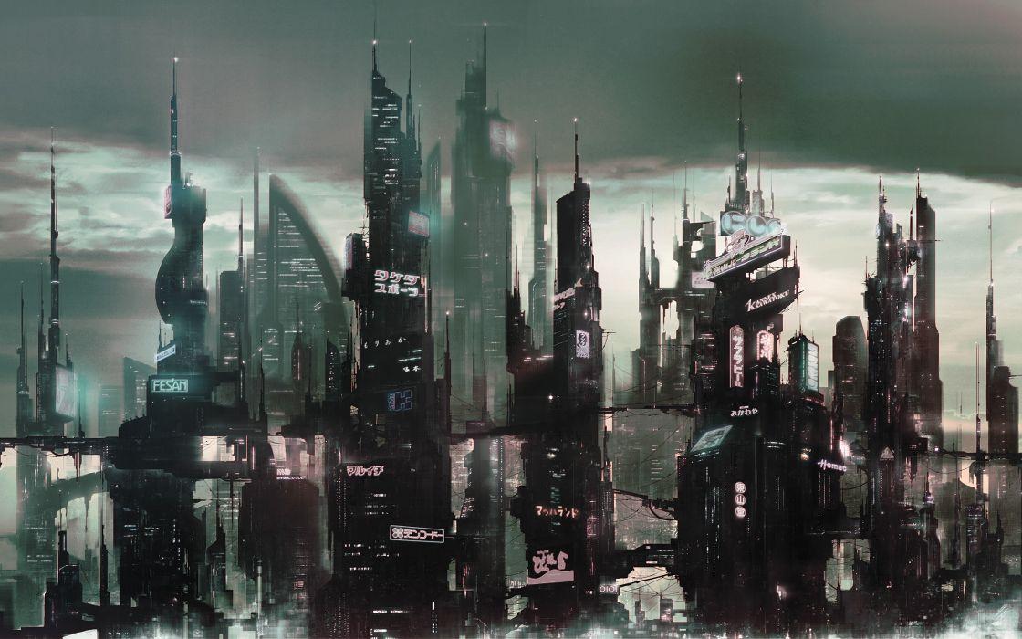 sci-fi city cities futuristic    d wallpaper