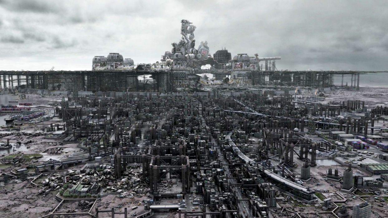 sci-fi steampunk city cities futuristic wallpaper