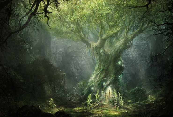 art Ilya Nazarov Lord of The Rings War In The North forest tree sign mag fantasy trees magical lotr wallpaper