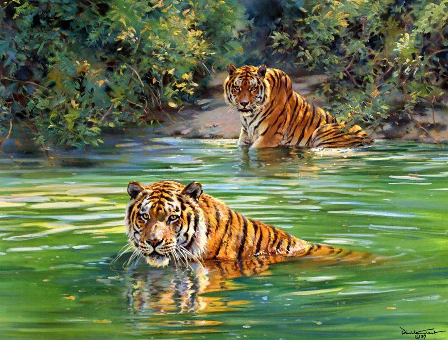 Donald Grant  tigers  painting  river tiger jungle wallpaper