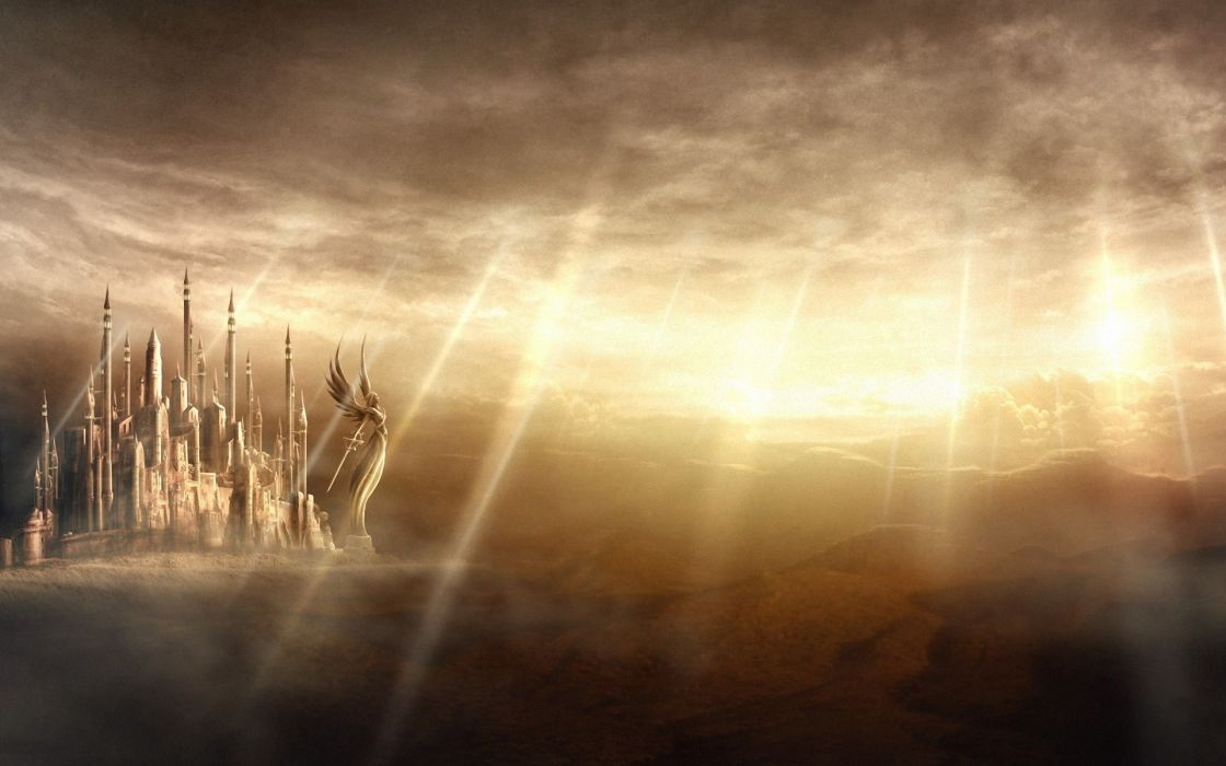 fantasy castle city cities angels angel wallpaper