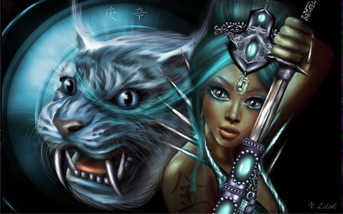 Fiction lilok-lilok art girl warrior weapons jewelry tattoo kanji saber-toothed animal tiger tigers warrior girls wallpaper