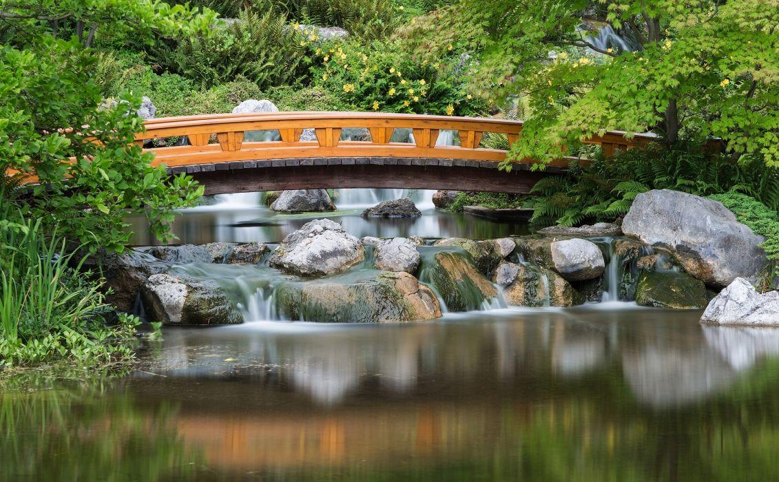 Japanese Garden asian garden lake reflection river pool mood bridge wallpaper