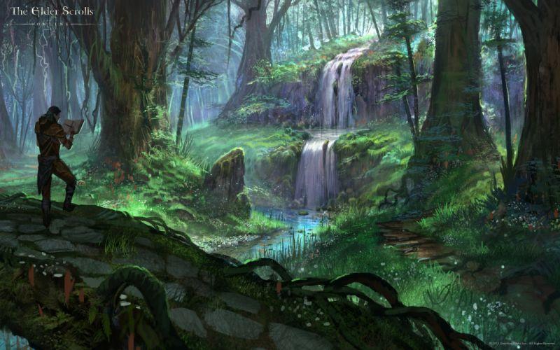 The Elder Scrolls Online fantasy warrior warriors waterfall landscape forest wallpaper