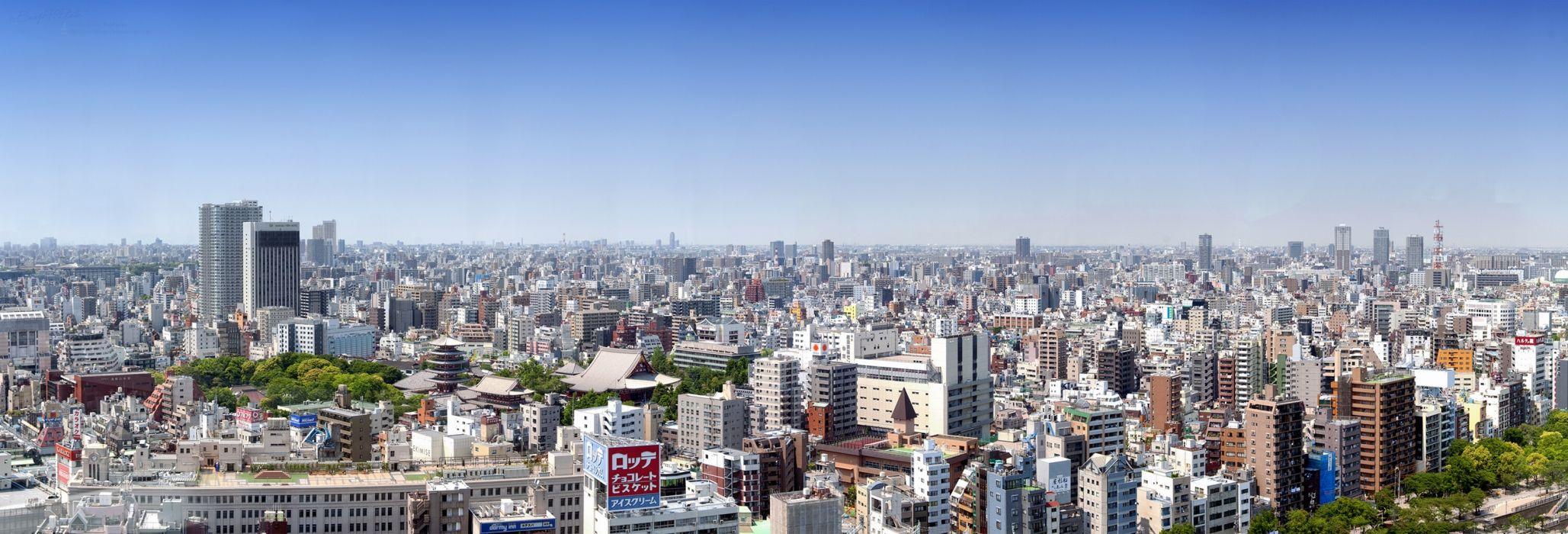 Tokyo Japan panorama buildings multi dual wallpaper