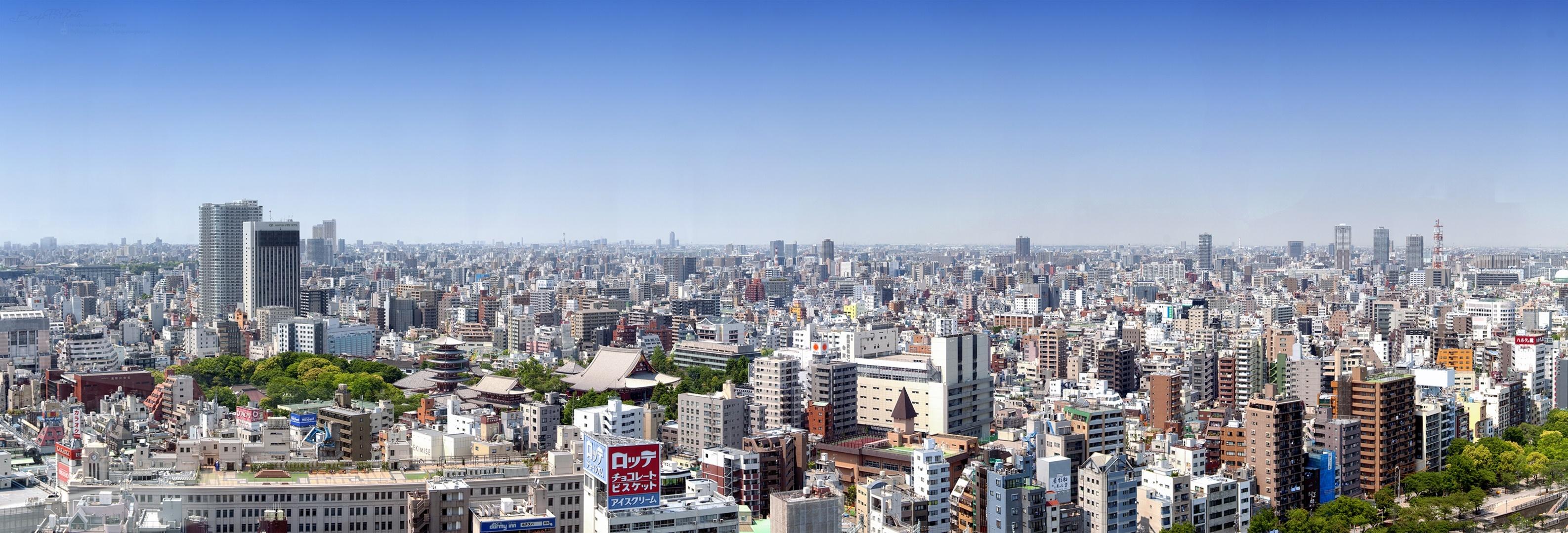 tokyo japan panorama buildings multi dual wallpaper | 3173x1080