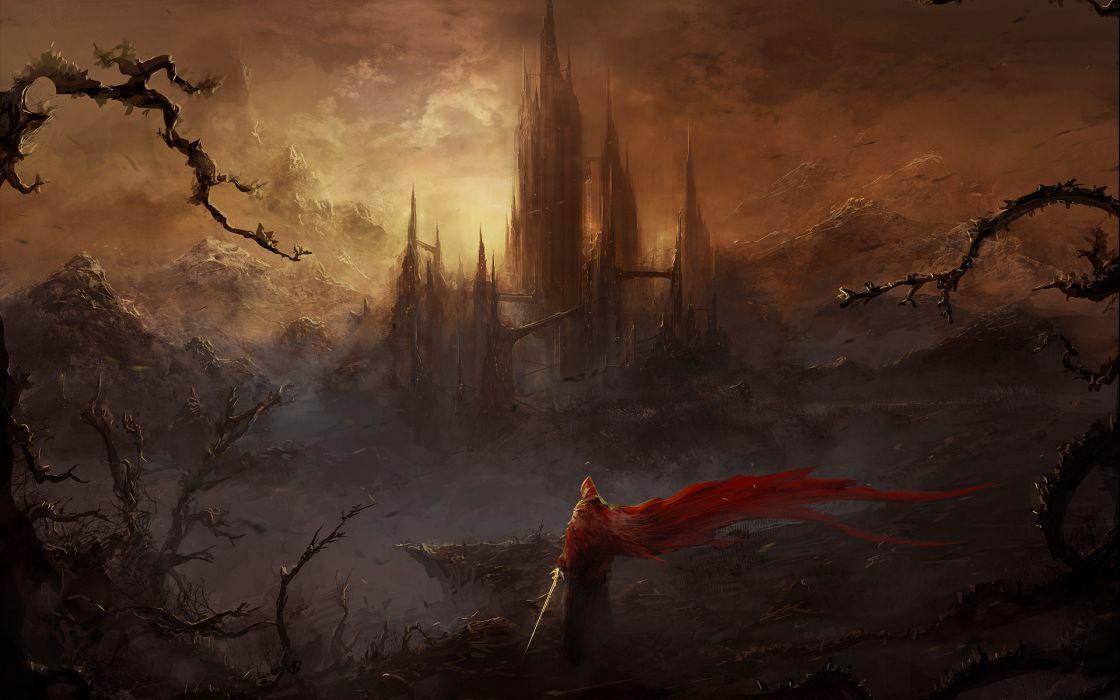 warrior warrior city cities castle fantasy wallpaper