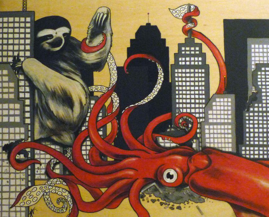 cartoon octupus squid city cities psychedelic apocalyptic wallpaper