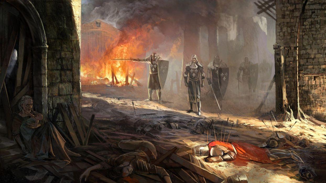 fantasy battle death knight armor weapons sword wallpaper