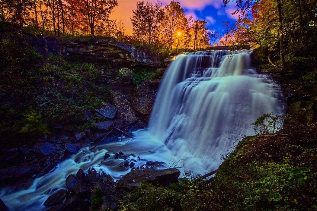 Ohio waterfall sunset hdr wallpaper