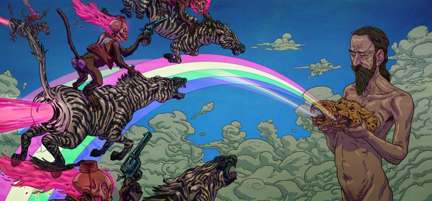 psychedelic hippie fantasy dark skull skull zebra monkey wallpaper