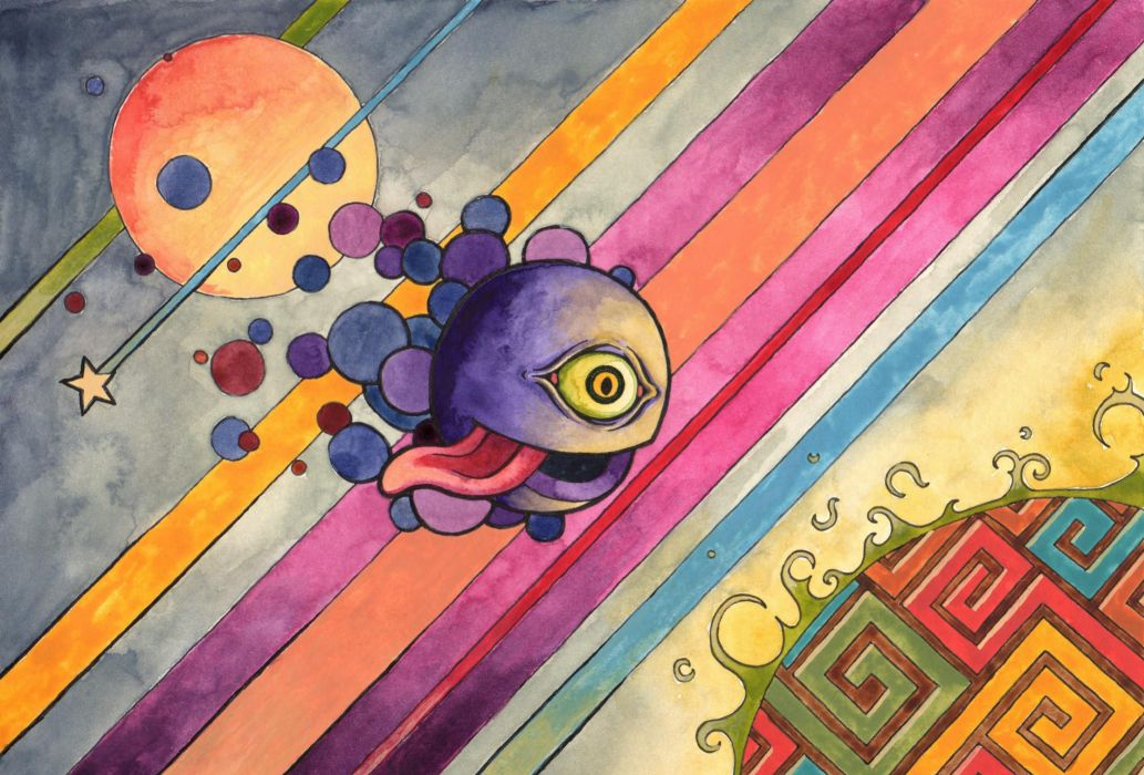 psychedelic humor monster creature cartoon dark fantasy wallpaper