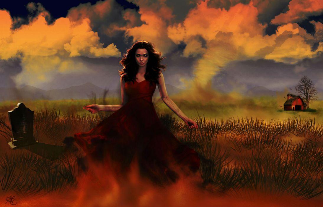 Vampires Clouds Dress Fantasy Girls dark halloween vampire gothic    f wallpaper