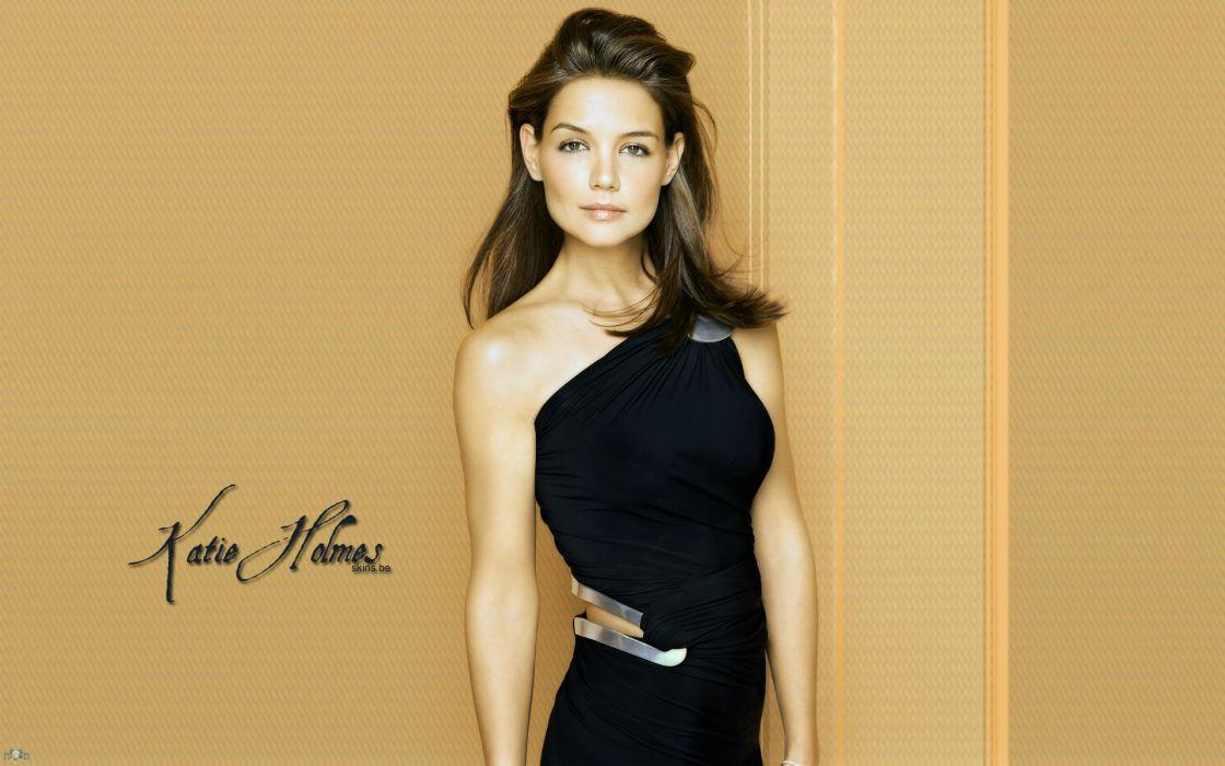 brunettes women dress actresses celebrity Katie Holmes black dress wallpaper
