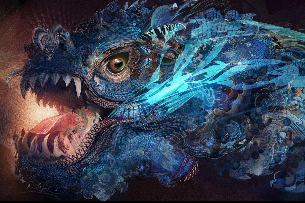 abstract dragons China artwork wallpaper