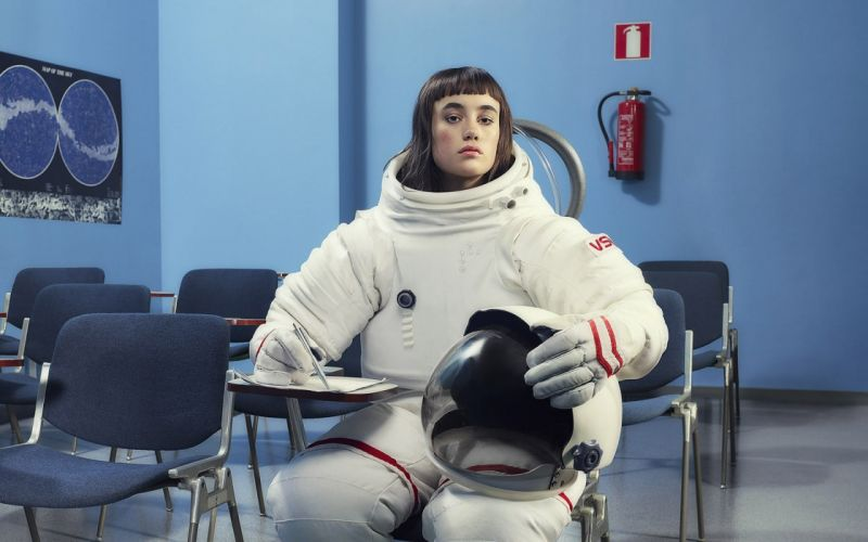 brunettes women blue funny NASA space suits desks posters faces fire extinguishers wallpaper