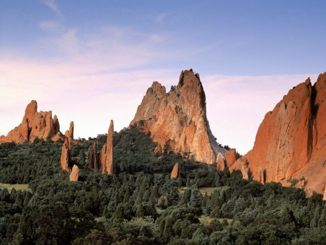 landscapes nature trees rock formations wallpaper