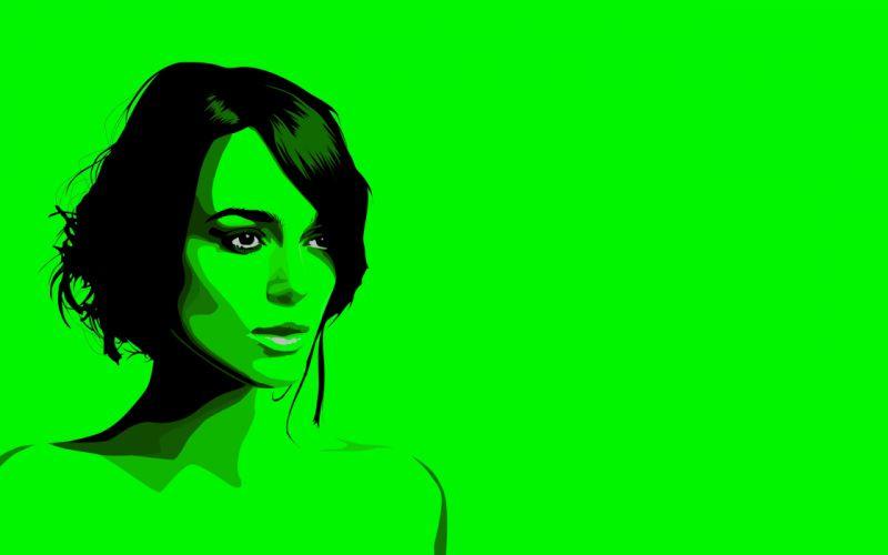 green Keira Knightley artwork flourescent wallpaper