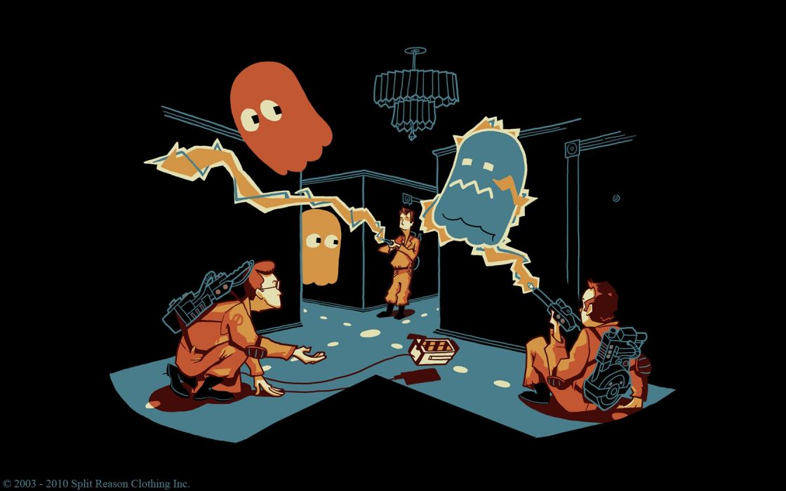 video games artwork Pac-Man Ghost Busters wallpaper