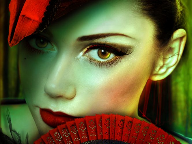 Eyes Face Glance Red lips Girls wallpaper