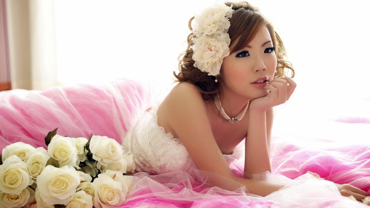 Asian Brunette Bride Flowers Rose wallpaper