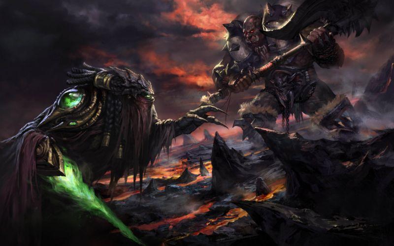 art battle weapons monsters orc sword rocks lava warrior warriors predator sci-fi wallpaper